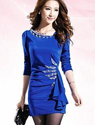 asimétrica mini vestido, azul poliéster / / bodycon negro / rojo del partido de las mujeres