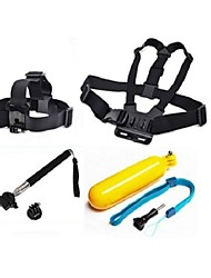 Gopro Accessories 4 in 1 Chest Strap + Head Strap+Floating Handle Grip +Monopod For GoPro Hero 1 2 3 3+Camera