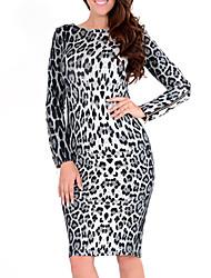 vestido de manga larga de leopardo europeo de Monta mujeres