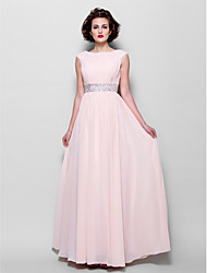 A-line Plus Sizes / Petite Mother of the Bride Dress - Pearl Pink Floor-length Short Sleeve Chiffon
