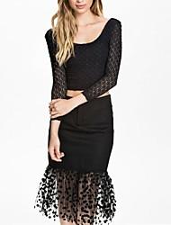 Women's Long Sleeve Top Dot Tulle Hemmed Skirt (Blouse & Skirt)