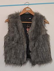 cappotto termico tutti i match solido pelliccia colore sleevless