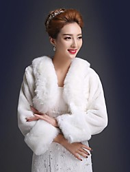 Wedding  Wraps / Fur Wraps Coats/Jackets 3/4-Length Sleeve Faux Fur Wedding / Party/Evening Open Front