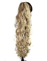 Claw Clip Synthetic 28 Inch Light Ash Blonde Long Curly Ponytail