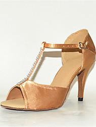 "Women's Latin Silk Sandals Performance Crystals/Rhinestones Stiletto Heel Almond 3"" - 3 3/4"" Customizable"