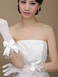Elbow Length Fingertips Glove Satin/Tulle/Polyester Bridal Gloves