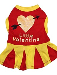 Cat / Dog Dress Red Dog Clothes Spring/Fall Hearts