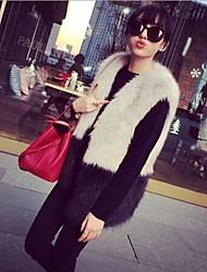 Peach John Women's Sleeveless Slim Fashion Round Collar Temperament Fur Waistcoat
