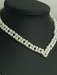 Z&X®  Elegant Hand Made V Shape Imitation Pearl Strands Necklace