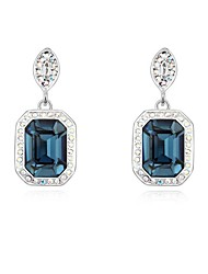 Women's Crystal Pave Embeded Square Drops Platinum-plated Alloy Stud Earrings