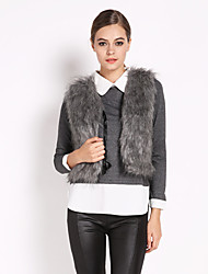 Women's Faux Fox Fur Vest Gilet Vest