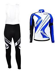 KOOPLUS Unisex Winter Cycling Clothing Long Sleeve Jersey BIB Pants Thermal Fleece Cycling Suit--Blue+White