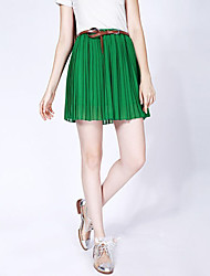 New Style Fashion All Match Pleated Chiffon Short Skirt Green