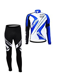 KOOPLUS Unisex Spring Autumn Customized Cycling Clothing Long Sleeve Jersey Pants Polyester Cycling Suit-Blue+White