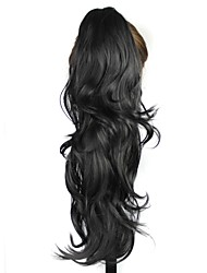 22 Inch Claw Clip Synthetic Black Long Curly Ponytail