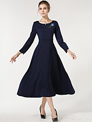 Women's Formal Vintage A Line / Swing Dress,Solid Round Neck Midi ¾ Sleeve Blue Cotton / Polyester Spring / Fall / Winter