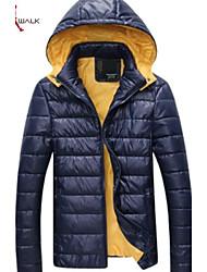 MANWAN WALK®Men's Casual Slim Solid Down Jacket.Thick Warm Removable Hood Coat.