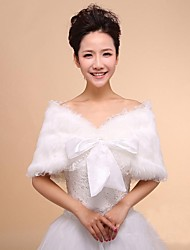 Wedding Wraps Faux Fur and Lace Warm Wedding Shawls With Bow