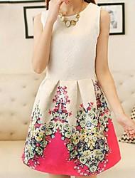Women's Sleeveless Vest Bottoming Retro Flower Print Dress