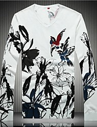 Men's Print Pullover , Cotton/Wool Blend Long Sleeve