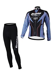 KOOPLUS Unisex Spring Autumn Customized Cycling Clothing Long Sleeve Jersey Pants Polyester Cycling Suit--Black+Purple