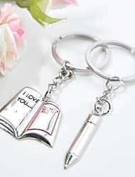 Personalized Engraving Book Metal Couple Keychain