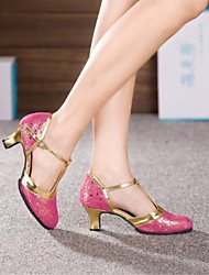 Non Customizable Women's Dance Shoes Modern Leather Cuban Heel Blue/Pink/Silver/Gold