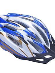 moda unisex y de alta transpirabilidad pc + epp casco de bicicleta con visera desmontable (19 tiros) - azul + plata + de oro