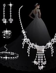 moda diamante doces conjuntos femininos: colar brincos e anel beacelet (venda julgamento; ações: 1)