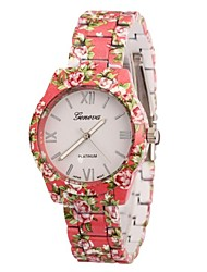 Mulan Women's Flower Print Alloy Band Quartz Wrist Watch