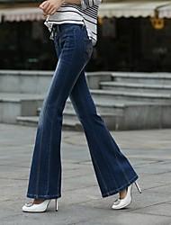 magicgarden®: 2014 nueva gran cuerno de estilo europeo y americano pantalones piratas de las mujeres atractivas elegantes jeans stretch amplia patas