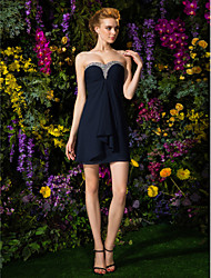 Lanting Short/Mini Chiffon Bridesmaid Dress - Dark Navy Plus Sizes / Petite Sheath/Column Sweetheart