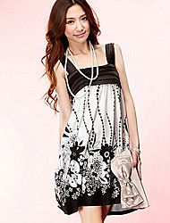 Fashion Retro Style Flower Printed Gallus Dress Black