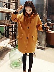 Women's Coat,Solid Long Sleeve Winter Yellow Wool / Others Thick