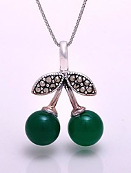 AS 925 Silver Jewelry   Green Agate Flower Pendant