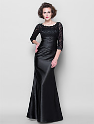 Lanting Trumpet/Mermaid Plus Sizes / Petite Mother of the Bride Dress - Black Floor-length 3/4 Length Sleeve Lace / Stretch Satin