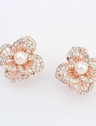 Women's Gorgeous Pearl Rhinestone Pave Openwork Flower Stud Earrings