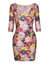 vestido de la media manga de la impresión digital en color de poliéster de las mujeres pinkqueen®