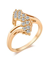 Woman's Fashion Simple Gold-Plated  Crystal Micro Insert Ring