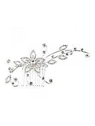 Silver Plated Crystal Flower Bridal Tiara Hair Slide Comb Pin