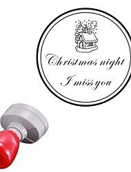 42x42mm personnalisé noël Santa Claus cabine de deux lignes rondes gravées timbre chevalière photosensible (15 lettres)