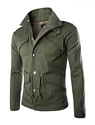 algodão casual de lapela de forma magro jaqueta masculina