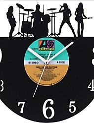 "Retro LP Style DIY Wall Clock Acrylic with LP Cover Finished 12""(30CM),Music Design"