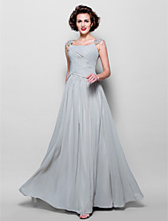A-line Plus Sizes / Petite Mother of the Bride Dress - Silver Floor-length Sleeveless Chiffon / Lace