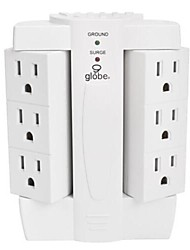 Side  Power Strip with 6 Outlet Surge Protector (White)