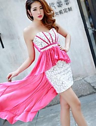 Women's Strapless Stitching Lace Chiffon Dress