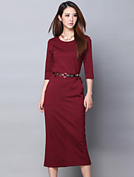 blk cintura 3/4 manga vestido longo vestido das mulheres