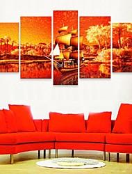 e-FOYER toile tendue art voile ensemble décoratif de 5