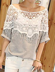 Women's Casual Crochet Cape Collar Batwing Sleeve T-Shirt