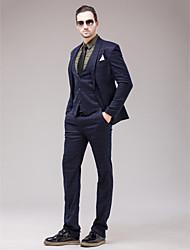 poliéster azul marino oscuro Slim Fit traje de tres piezas